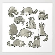 Delightfully Blobby Raccoons Art Print by eloisenarrigan Raccoon Craft, Baby Raccoon, Raccoon Mask, Raccoon Drawing, Raccoon Tattoo, Animal Drawings, Cute Drawings, Cartoons, Tatoo