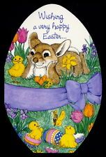 208-GC Linda K Powell CHICK BIRD & RABBIT Easter Greeting Card