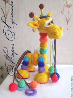 Развивающие игрушки ручной работы. Ярмарка Мастеров - ручная работа. Купить Жираф из шариков радужный (лошарик). Handmade. Комбинированный, пряжа
