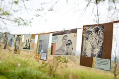 hang pictures on clothes line between trees