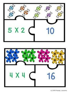 Equal Groups Multiplication Game for Third Grade Math Center Puzzles Math Games For Kids, Math Activities, Multiplication Facts Worksheets, Multiplication Strategies, Math Fractions, Third Grade Math, Grade 3, Homeschool Math, Math Lessons