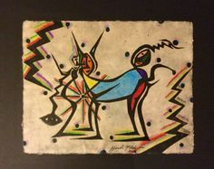 Watercolor & Ink Painting of Abstract Figures on Handmade Paper, 18 x24, Signed