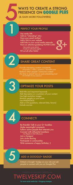 5 manieren om aan te geven dat je er bent op Google+ source:http://visual.ly/5-ways-create-strong-presence-google-plus-gain-more-followers