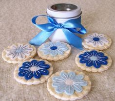 Felt Play Food - Blue Blueberry Flowers - Iced Sugar Cookies