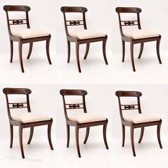 Set Of 6 Antique Mahogany Regency Dining Chairs - Antiques Atlas