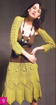 #367 Conjunto: Chaleco + Falda a Crochet o Ganchillo