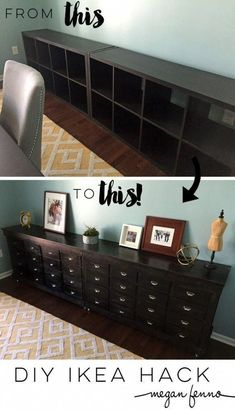 DIY IKEA Hack: Dining room dresser before and after + tutorial. Could do this w… DIY IKEA Hack: Dining room dresser before and after + tutorial. Could do this with mine and it would hide the stuff. Hacks Ikea, Ikea Furniture Hacks, Furniture Makeover, Home Furniture, Dining Furniture, Furniture Ideas, Diy Hacks, Ikea Expedit, Ikea Shelves