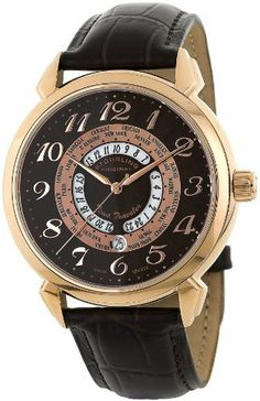 Stuhrling Original Men's 118A.SO.3345K59 Classic Traveler World Time Swiss Quartz Brown Leather Strap Watch Stuhrling Original. $149.00. Brown Alligator embossed genuine leather strap with rose tone deployant push button clasp. Brown hydraulically stamped outer dial with rose tone applied Arabic numerals. Rose tone polished world time ring with date window at six o'clock position. Polished 16K rose gold layered round shaped case with protective Krysterna crystal on f...