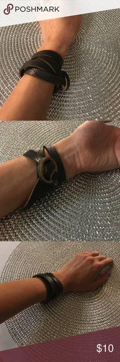 "Skinny leather wrap bracelet Leather wrap bracelet. 33"" long. So classy 👌 Jewelry Bracelets"