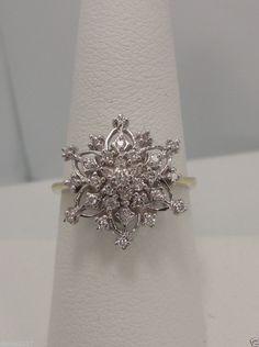 Franklin Mint 14k Yellow Gold White Gold Snowflake Diamond Ring RARE Find | eBay