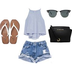 A fashion look from June 2015 featuring Zara tops, American Eagle Outfitters flip flops and MICHAEL Michael Kors handbags. Browse and shop related looks.