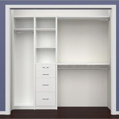 SpaceCreations Closet System is designed to add great-looking organizational opportunities to any room. Classic White combines simplicity and personalization in a laminated solution and Premier Dark J Small Master Closet, Small Closets, Kid Closet, Small Walk In Closet Ideas, Small Closet Design, Shoe Closet, Easy Closets, Diy Closet Ideas, Diy Closet System