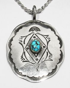 Large Old Pawn 30s Navajo Natural Spiderweb Turquoise 925 Silver Turtle Pendant