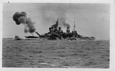 "HMS Anson, a type ""King George V"" battleship, shoots her main guns BL-Mk VII during trials in the North Sea, Note the northern waters camouflage paint. Naval History, Military History, Military Men, British History, Capital Ship, Big Guns, Armada, Navy Ships, Submarines"