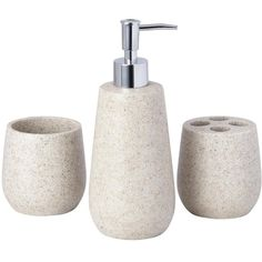 Stone-Effect 3-Piece Bathroom Accessory Set ($26) ❤ liked on Polyvore featuring home, bed & bath, bath, bath accessories, toilet-paper holder, stone bathroom accessories and stone bath accessories