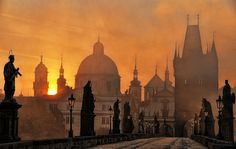 Sunset on the Charles Bridge in my old stomping grounds of Prague.