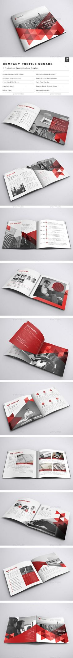 Company Profile Square Brochure Template InDesign INDD #design Download…