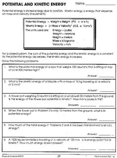 Potential And Kinetic Energy Worksheet Answers | science ...