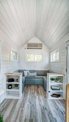 "24' ""Ocracoke"" Tiny House on Wheels by Modern Tiny Living  Tiny House Movement // Tiny Living // Tiny House Living Room // Tiny Home Storage // #TinyHouseonWheels #Architecture #Homedecor #TinyHome Modern Tiny House, Small Tiny House, Tiny House Design, Tiny House Living, Tiny House On Wheels, Small Living, Home Living Room, Living Spaces, Tiny House Nation"