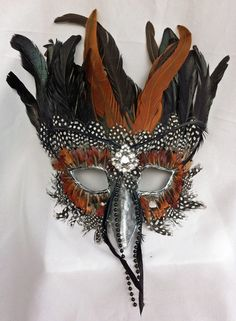 Olorun Feathered Bird Papier Mache Masquerade Mask by DaraGallery, $60.00