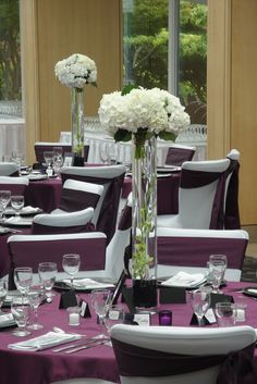 purple wedding floral centerpiece