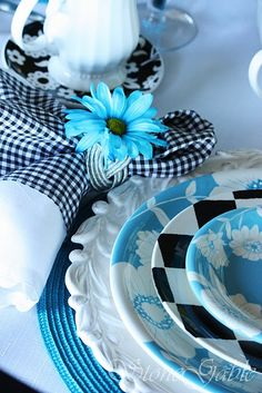 black, white  aqua dishes with a double cloth napkin=pretty