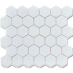 "CC Mosaics 12""X12"" White Matte Glazed 2X2 Hexagon Mosaic"