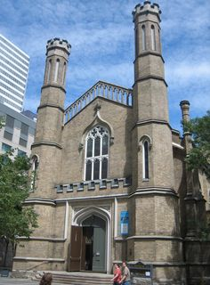 The modest Gothic Revival structure was built in 1847 by architect Henry Bowyer Lane, who also designed Little Trinity Anglican Church on King Street and St. George the Martyr Church in Toronto. The funds for its construction were a gift from Mary Lambert Swale of Settle, England. Swale had originally made the donation anonymously, but her name was eventually revealed. She had provided the gift with the stipulation that the church be open to the public, with no reserved pews.