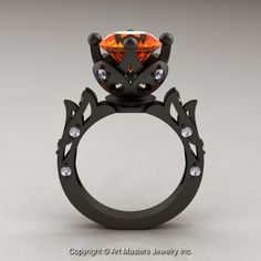 ClassicEngagementRing.com Blog: Modern Antique 14K Matte Black Gold 3.0 Ct Orange ...