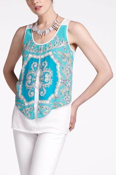 """LeifNotes' jersey tank is topped with a scarf-print pattern that's split straight down the center.  - Cotton, modal - Hand wash - 29""""L - Imported"""