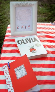 Olivia the Artist Party..have everyone sign in book