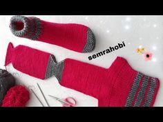 kolay patik çorap yapılışı / Iki şiş çorap patik yapılışı - YouTube Crochet Socks, Knitted Slippers, Knitted Gloves, Crochet Clothes, Knit Crochet, Small Knitting Projects, Knitting Designs, Knitting Patterns, Crochet For Kids