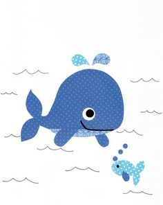 Nautical Whale Nursery art prints baby by 3000yardsofthread