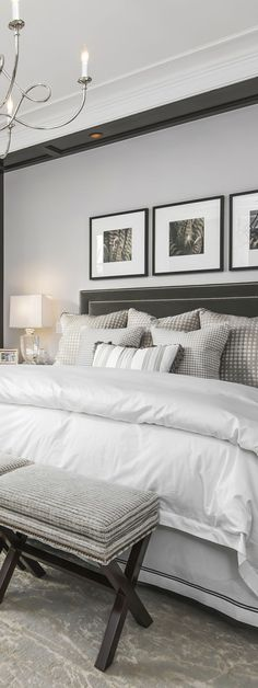 Sophisticated Bedrooms Ideas | A sophisticated bedroom design in a new home located on one of Lincoln Park's most desirable streets. This elegant home has an expansive master suite with spa bath and vast walk-in-closets.