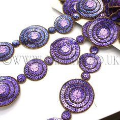 Lilac/Purple circle trim with sequins, beads and embroidery. More Than One, Decorative Trim, Beaded Trim, Gem S, Beaded Embroidery, Make It Simple, Lilac, Sparkle, Sequins