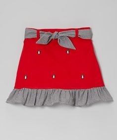 Take a look at this Red Penguin Ruffle Skirt - Toddler & Girls by K&L on #zulily today!