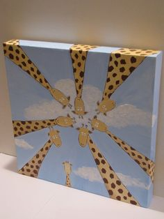 Giraffe acrylic canvas painting. Erica Ivanoff you should paint something like this for my napping room :)