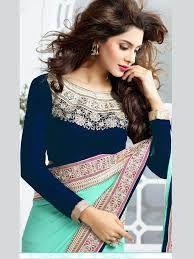 royal blue saree designs - Google Search
