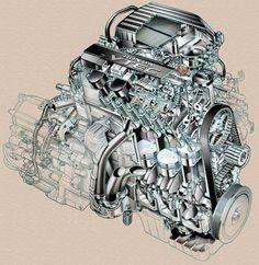 Civic VTEC-E cutaway engine illustration.