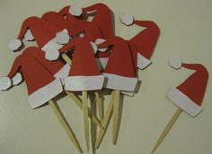 Cupcake Toppers Christmas Santa Hat 12ct