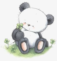 Panda with 4 Leaf Clover. Niedlicher Panda, Cartoon Panda, Panda Love, Cute Panda, Cute Cartoon, Panda Bears, Cute Drawings, Animal Drawings, Clipart