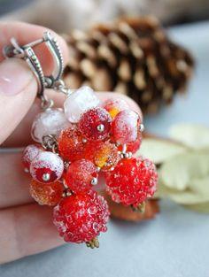 Lampwork Winter Berry Earrings / Earrings with Rosehips, Rowan, Wildings and Ice / Lampwork Jewelry / Artisan Glass Beads/ Frozen Berries