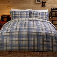 Argyll Tartan Check Design Duvet Set - Blue