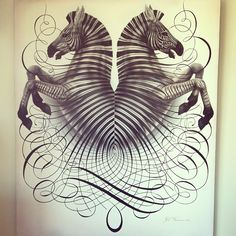 Alone we perish, together we flourish! Jake Weidmann's painting on canvas- 5x6 feet! #calligraphy #painting #flourish #zebra http://jakeweidmann.com/
