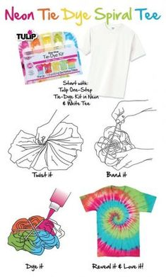 30 Easy DIY Summer Fashion Ideas With Step by Step Tutorials 30 einfache DIY-Sommermode-Ideen Diy Tie Dye Shirts, Dye T Shirt, Diy Shirt, Diy Neon Tie Dye, Tie Die Shirts, Band Shirts, Diy Camisa, Tulip Tie Dye, Tie Dye Crafts