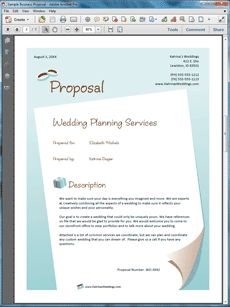 Wedding Planner Services Sample Proposal - The Wedding Planner Services Proposal is an example of a proposal using Proposal Pack to pitch wedding planner services to a potential client. Create your own custom proposal using the full version of this completed sample as a guide with any Proposal Pack. Hundreds of visual designs to pick from or brand with your own logo and colors. Available only from ProposalKit.com (come over, see this sample and Like our Facebook page to get a 20% discount)
