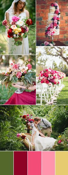 raspberry and pink wedding color ideas and wedding decoration inspiration