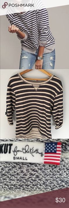 Kut from the Kloth Nautical Striped Top Kut from the Kloth Nautical Striped Top. Super cozy top. Perfect condition. Three quarter inch sleeve. First picture is not actual item and is for styling inspiration purposes only. Kut from the Kloth Tops Sweatshirts & Hoodies