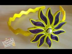 DIY - How to make paper quilled hair band, Easy paper quilling flower tutorial - YouTube