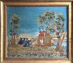 Tableau religieu représentant Saint Jean Baptiste  | antiquitesdecoration Saint Jean Baptiste, Chenille, Saints, Painting, Decor, Art, Silk, Embroidery, Board
